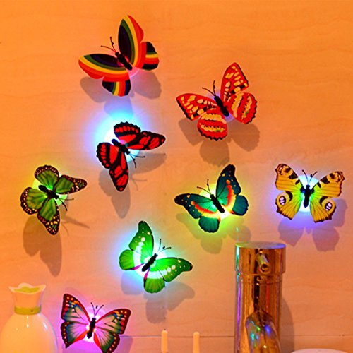 family-baby 6PCS Butterfly Lights, Flashing Colorful 3D Butterfly Wall Stickers for Girl Bedroom Baby Kids Toy Gift, Creative LED Small Lamp Night Light Stickers Home Decor Room Decoration