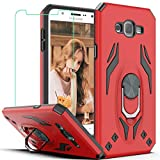 Galaxy J7 Case, Galaxy J7 2015/ SM-J700 Case with HD Screen Protector, YmhxcY Military Grade Phone Case with Rotating Holder Kickstand for Samsung Galaxy J7 NEO-TX Red