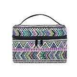 HaJie - Bolsa de maquillaje de gran capacidad, organizador de viaje bohemio, tribal, azteca, portátil, bolsa de almacenamiento, bolsa de lavado para mujeres y niñas