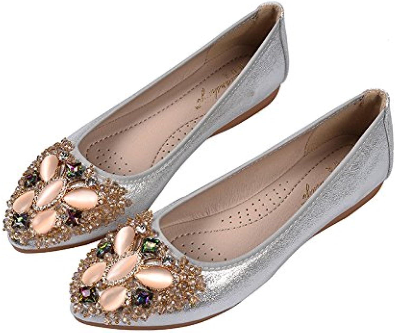 WHW Women shoes single shoe light port points water drilling tsutsu ,silver,39 shoes