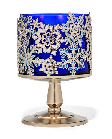 Bath and Body Works Jeweled Snowflakes Pedestal 3 Wick Candle Holder.