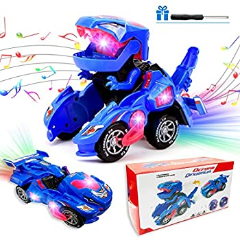 Transforming Dinosaur Toys Transforming Dinosaur LED Car for Kids Dinosaur Transformer Toys with Music and Light Automatic Transform Dino Car for Kids Christmas Birthday Gifts