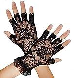 Silver Fancy Dress® 80's Black Lace Fingerless Gloves Madonna, Hen Night/Ladies Short Lace Gloves Black Accessory Victorian
