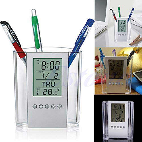 FKY Pennenhouder, LCD-display, digitale wekker, schrijfthouder, organizer, thermometer, kalender