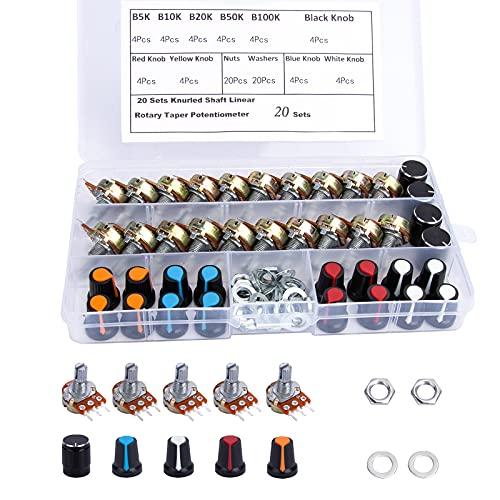 Lineares Potentiometer DrehPotentiometer 5K 10K 20K 50K 100K Ohm Potentiometer-Set 3 Pin mit 5-Farben Knopf Muttern und Unterlegscheibe 20 Sets