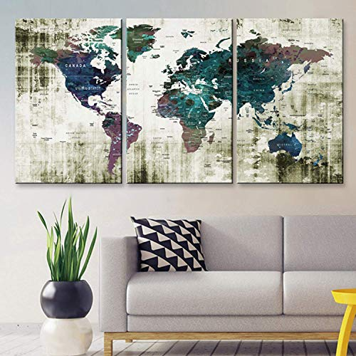 Original by BoxColors LARGE 30'x 60' 3 panels 30x20 Ea Art Canvas Print Watercolor Green blue purple Old Map World Push Pin Travel Wall home decor (framed 1.5' depth) M1806