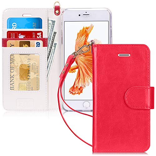 FYY Cover iPhone 6S Plus, Cover iPhone 6 Plus,Flip Custodia Portafoglio Caso Libro Pelle PU con Funzione Supporto e Porta Carte per Apple iPhone 6 / 6S Plus - Rosso