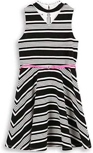 4 years warranty Speechless Girls' Big Chocker Neck Dress Very popular! Stripe Belt W.