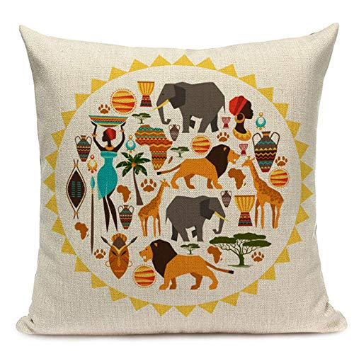 ZJMKFJL Pillow Cover, Cushion Cover, Sofa Cushion Cover, Decorative Protective Cover, Linen Material, Printed Pattern 45 X 45Cm, 4Pcs