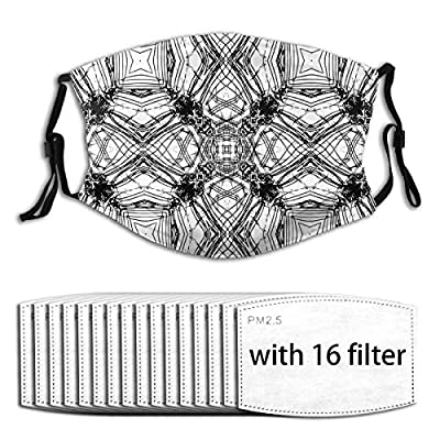 Abstract Pattern Decoration Reusable Activated Carbon Filter Face Shield With 16 Filter Replaceable for Men Women
