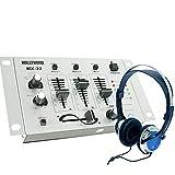 principiantes partido PA DJ mezclador de 4 canales crossfader del mezclador en los auriculares...