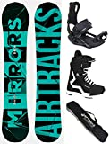 Airtracks Snowboard Set - Board Mirrors NEON Wide 166 - Softbindung Master - Softboots Strong 46 -...