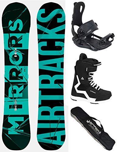 Airtracks Snowboard Set - Board Mirrors NEON Wide 166 - Softbindung Master - Softboots Strong 46 - SB Bag