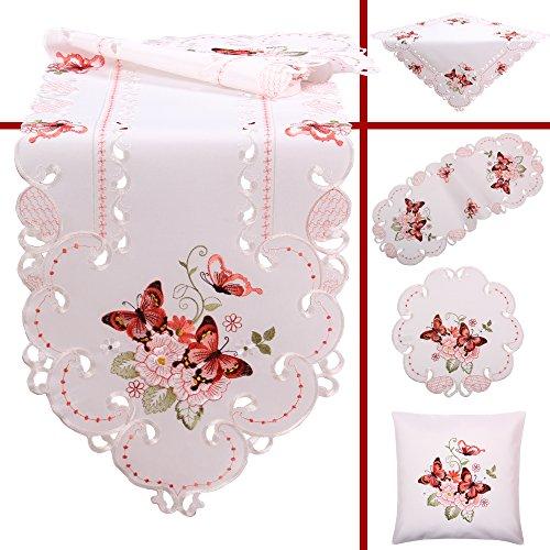 Quinnyshop Rosa Schmetterlinge Stickerei Frühling Tischdecke Deckchen ca. 30 cm Rund Polyester, Weiß