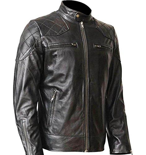 FOENIX APPAREL Herren Motorrad Lederjacke - Echtes Lammleder Bikerjacke Inspiriert von David Beckham (L)