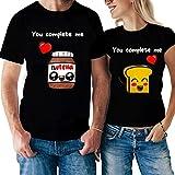 Coppia Tshirt Divertente Uomo e Donna - Love - Amore Tu Mi Completi - Pane & Nutella - Idea Regalo...