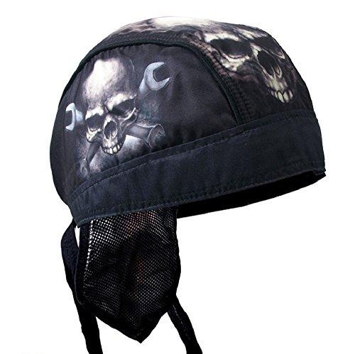 Black Tan White Skull Crossbone Wrenchs Motorcycle Head Wrap Durag Cap Biker
