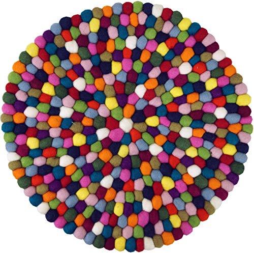 Guru-Shop Alfombra de Fieltro Redonda, Alfombra Para el Suelo Hecha de Pequeñas Bolas de Fieltro - Ø 40 cm, Multicolor, Posavasos y Bandejas