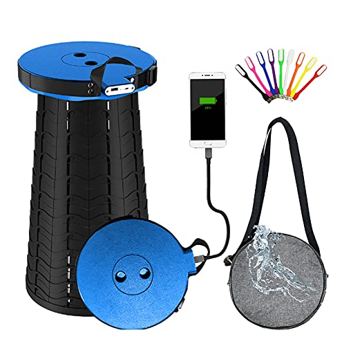Portable Rechargeable Telescopic Collapsible Stool with 4400 mAh Power Bank, Retractable Folding Camping Stool Seat Chair for Indoor/Gardening/Outdoor Hunting Built-In Phone Charger for Iphone Android
