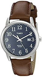 Easy-to-Read Blue Dial with Full Arabic Numerals Brown Genuine Leather Strap Polished Silver-Tone Case Date Window Indiglo Light-Up Watch Dial Water resistant to 99 feet (30 M): withstands rain and splashes of water, but not showering or submersion