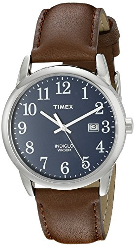 Timex Men's TW2P75900 Easy Reader 38mm Brown/Silver-Tone/Blue Leather Strap Watch