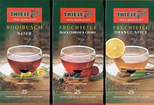 Thiele Tee 3er Mix-Paket, Rooibusch Natur, Früchtetee Black Currant & Cherry, Früchtetee Orange Spice