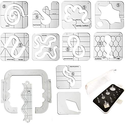 YICBOR Free Motion Quilting Template Series 5 with Quilting Frame for Domestic Sewing Machine Q5-01 TK