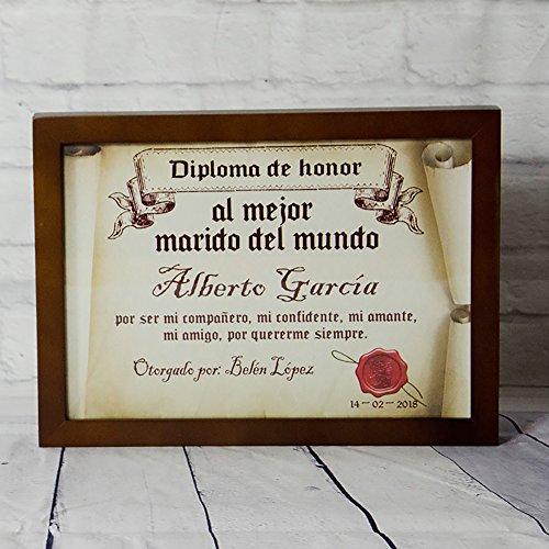 Calledelregalo Diplomas pergamino con Marco Personalizados para Todos los destinatarios (Al Mejor Marido)