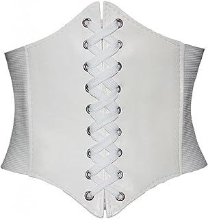 Alivila.Y Fashion Corset Women's Faux Leather Underbust Waist Belt Corset A13-White