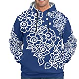 Knowikonwn MidnightBlue - Sudadera con capucha para hombre, diseño retro con mandala estampada, color blanco