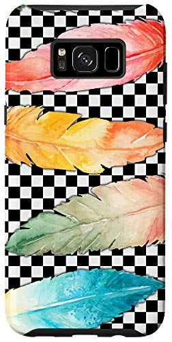 Galaxy S8+ Checked Checkered Checkerboard Pattern Feather Watercolor Case