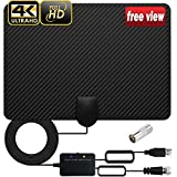 TV Antenna Indoor, Amplified Digital HDTV Flat HD TV Antenna for 4K 1080P All Indoor Television Free Local Channels Signal Booster Amplifier 160 Miles Long Range 16.5ft Coax Cable Latest 2020