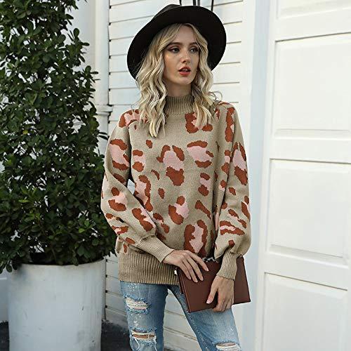 Avsvcb Otoño e Invierno Ropa de Mujer Suéter de Punto de Comercio Exterior Europeo y Americano Cuello Alto Manga de Linterna suéter de Leopardo Mujer