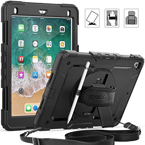 SEYMAC Schutzhülle für iPad 2018/2017 9,7 mit drehbarem Ständer und Handschlaufe, Schultergurt und Displayschutzfolie, Stifthalter für iPad 5./6. Gen/Pro 9.7/Air 2 schwarz schwarz