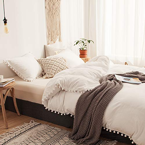 3 Pieces White Bedding Offwhite Raw White Duvet Cover Set Ball Fringe Pattern Design Soft Off White Bedding Sets Queen 1 Duvet Cover 2 Ball Lace Pillowcases (Queen, White)