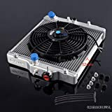 "52mm Aluminum Racing Radiator Stop Leak Compatible For HONDA CIVIC EK EG D15 D16 1992 1993 1994 1995 1996 1997 1998 1999 2000 + 12"" Radiator Cooling Fan"