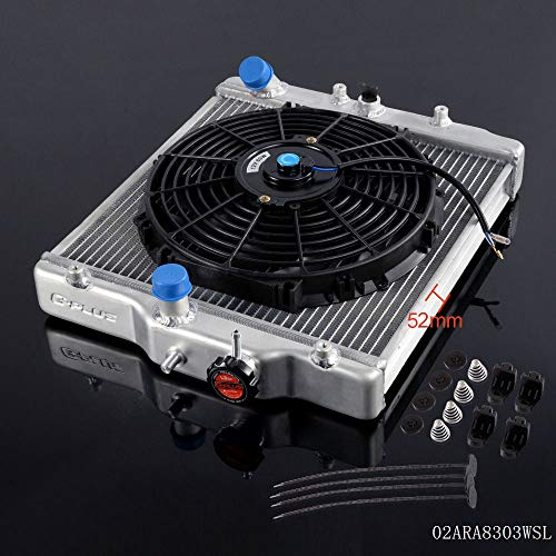 52mm Aluminum Racing Radiator Stop Leak Compatible For HONDA CIVIC EK EG D15 D16 1992 1993 1994 1995 1996 1997 1998 1999 2000 + 12' Radiator Cooling Fan