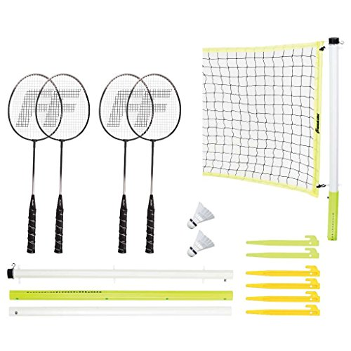Franklin Sports Badminton Set — Includes 4 Steel Raquets, 1 Net, 2 Shuttlecocks, and 1 Carry Bag — Advanced Set