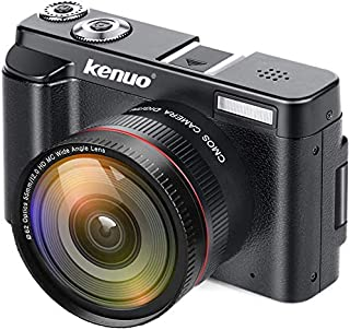 KENUO Digital Camera Vlogging Camcorder Recorder FHD 1080P 30FPS YouTube Video Camera with Wide Angle Lens MAX 24.0MP 3.0 ...