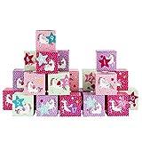 Papierdrachen DIY Adventskalender Kisten Set - Motiv Einhorn - 24 Bunte Schachteln zum Aufstellen...
