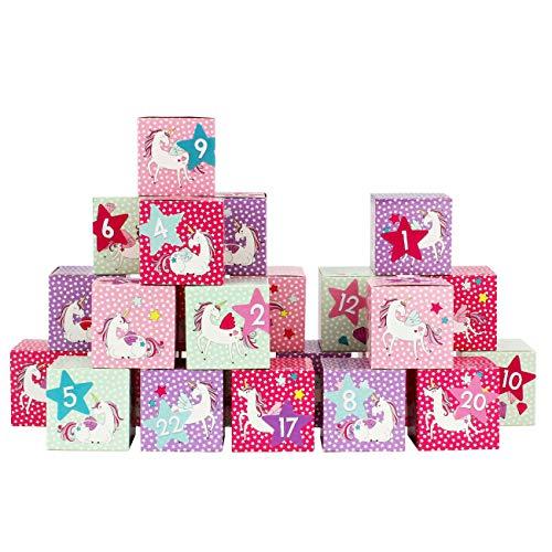 Papierdrachen Set di scatole DIY Calendario dell'avvento – 24 scatole Colorate da comporre e da riempire – 24 scatole - Unicorno