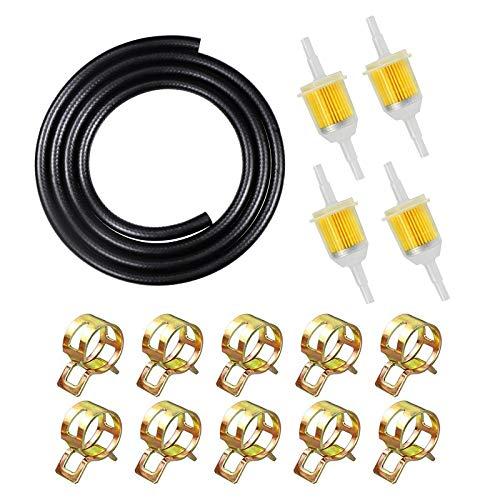 """1/4"""" Zoll Benzinschlauch Kit, inkl 2M Ø 6mm Kraftstoffleitung + 4 Stück 6mm/8mm Benzinfilter + 10 Stück Schlauchschellen für rasenmäher Motorrad Roller"""