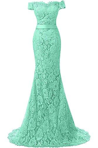 YINGJIABride Lace Mermaid Wedding Party Dress Long Evening Prom Dresses Off Shoulder Cap Sleeve Mint Size 16W (Apparel)