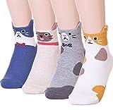 GotYourToes | Womens Teen Girls | Cute Cat Animal Print | Ankle Socks | Great Gifts | 4 Pairs (Feline Friends)