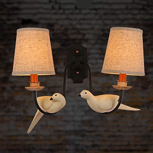 XIN Retro Bedroom Bedside Lamp enkele kop creatieve woonkamer studie eenvoudige kinderen huis vogel wandlamp