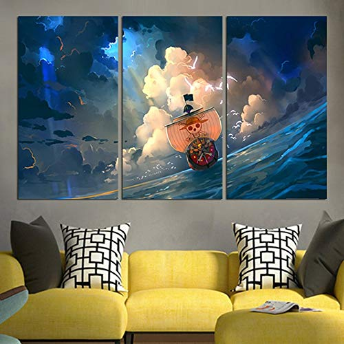 WIOIW 3 Pieces Anime Cartoon Comics Movie One Piece Pirate Sailboat Thousand Sunny Sky Clouds Canvas Painting Wall Art Poster Boy Fans Bedroom Living room Home Decor