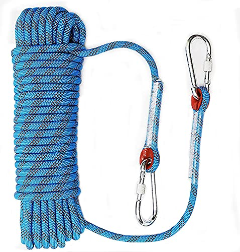 rock climbing ropes QHY Rock Climbing Rope 20MM Static Rappelling Rope Escape Ice Climbing Equipment Fire Rescue Parachute Rope 32FT 49FT 65FT 82FT 98FT 121FT 164FT 197FT (Color : Blue, Size : 25M20MM)