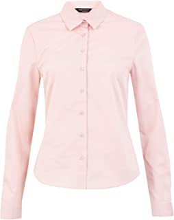 Marks & Spencer Women's Cotton Fitted Long Sleeve Shirt, LIGHT PINK