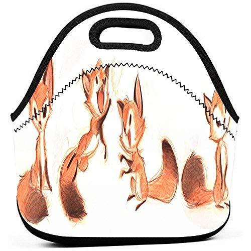 Tragbare lunchpaket tote niedlichen fuchs bleistift kunst zeichnung neopren mittagessen handtasche lebensmittel reißverschluss lagerung lunchbox für männer frauen kinder