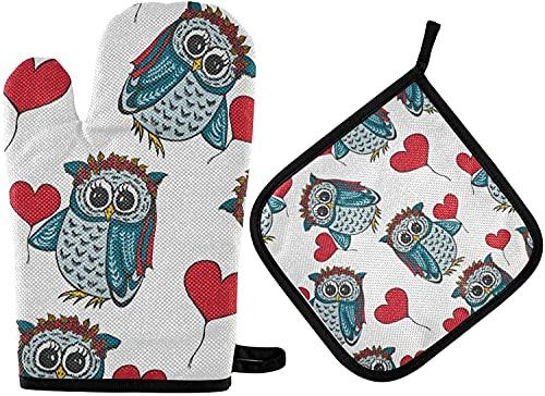 MODORSAN Cute Owls Heart Oven Mitts & Pot Holder 2pcs Valentine Red Love Kitchen Juego de agarraderas Antideslizantes Resistentes al Calor para Mujeres, cocinar, Hornear, Barbacoa